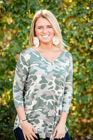 Light Camo V-neck Top