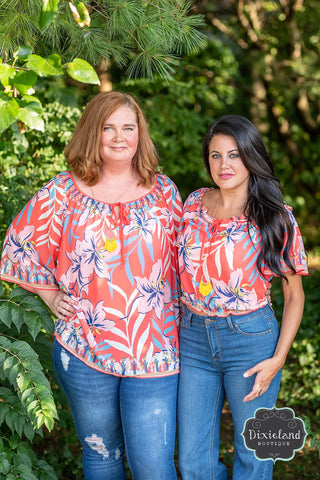 Deep Coral Tropical Blouse