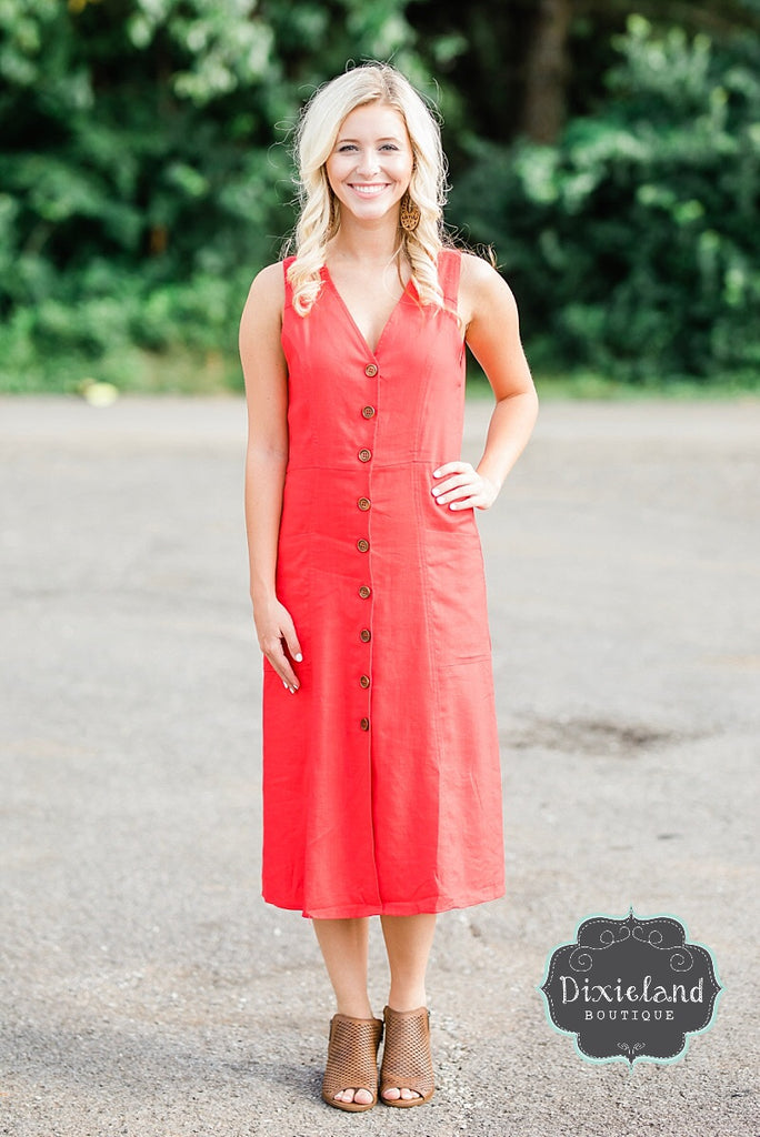 Red Midi  Buttoned Dress