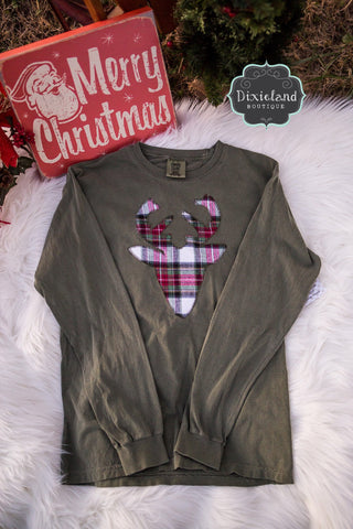 Comfort Color Plaid Deer Long sleeve Tee