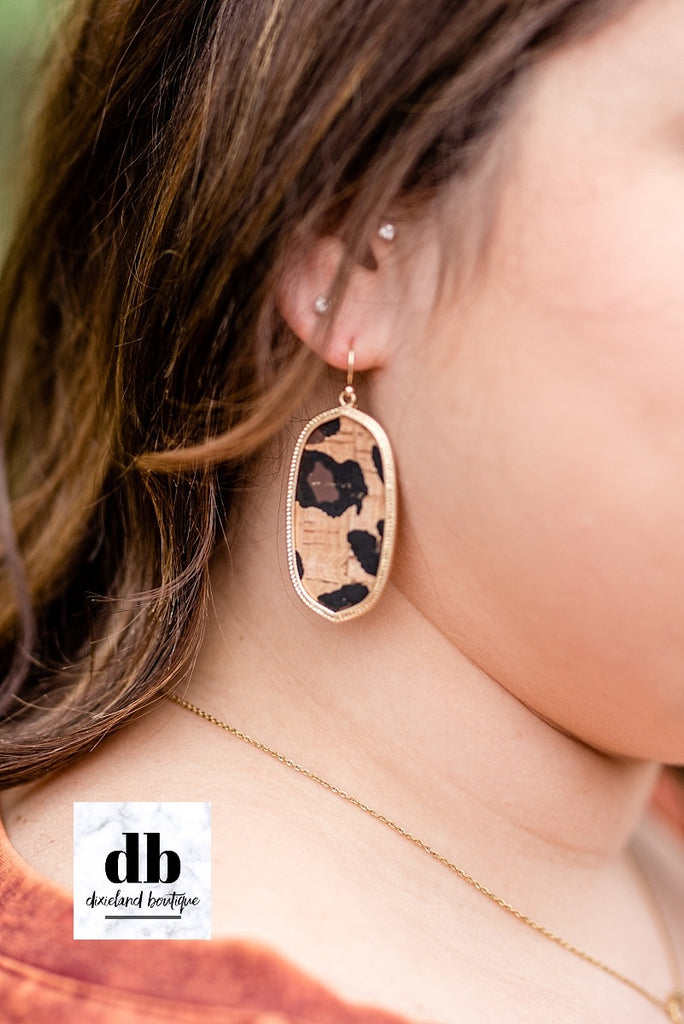 Oval Leopard Cork Earrings