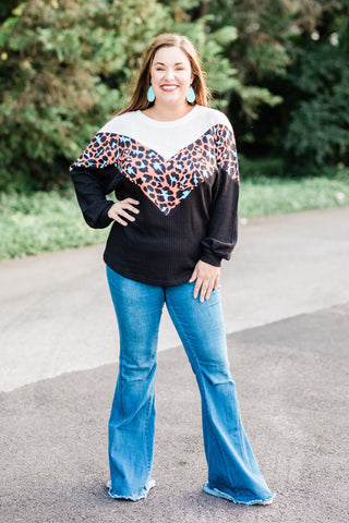 Waffle Knit Top With Leopard