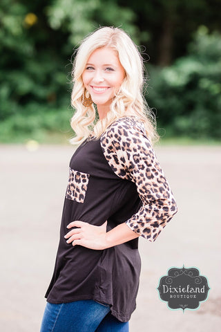 Leopard and Black Raglan