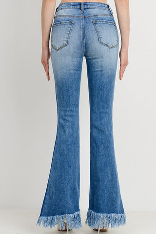 Frayed Hem Jeans - Medium Wash