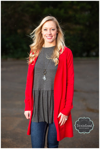 Ruby Red Long Sweater Cardigan