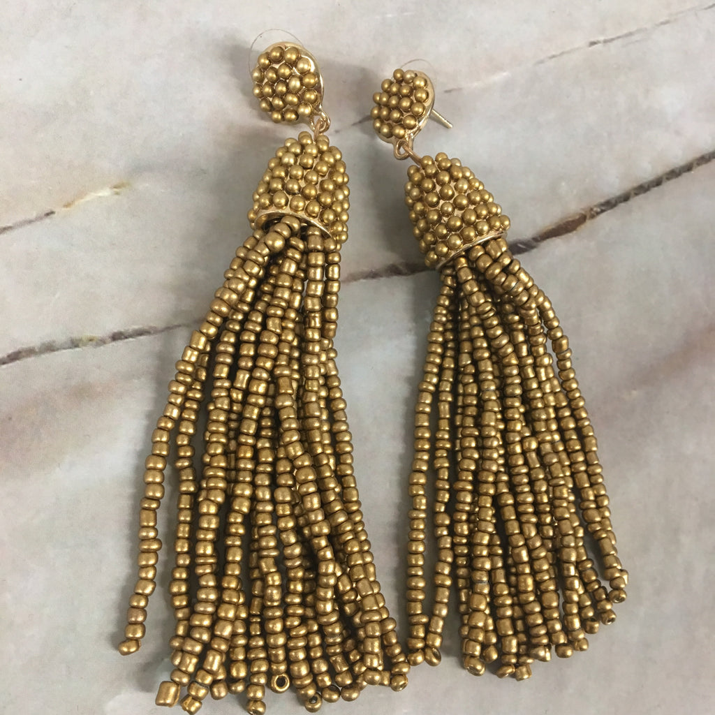 Gold Beaded Tassel Earrings