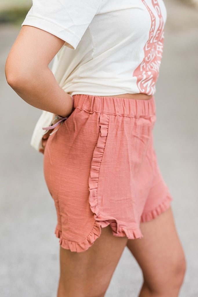 Marsala Ruffled Shorts