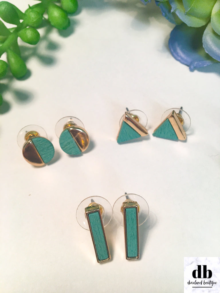 Stud Earring Trio in Turquoise