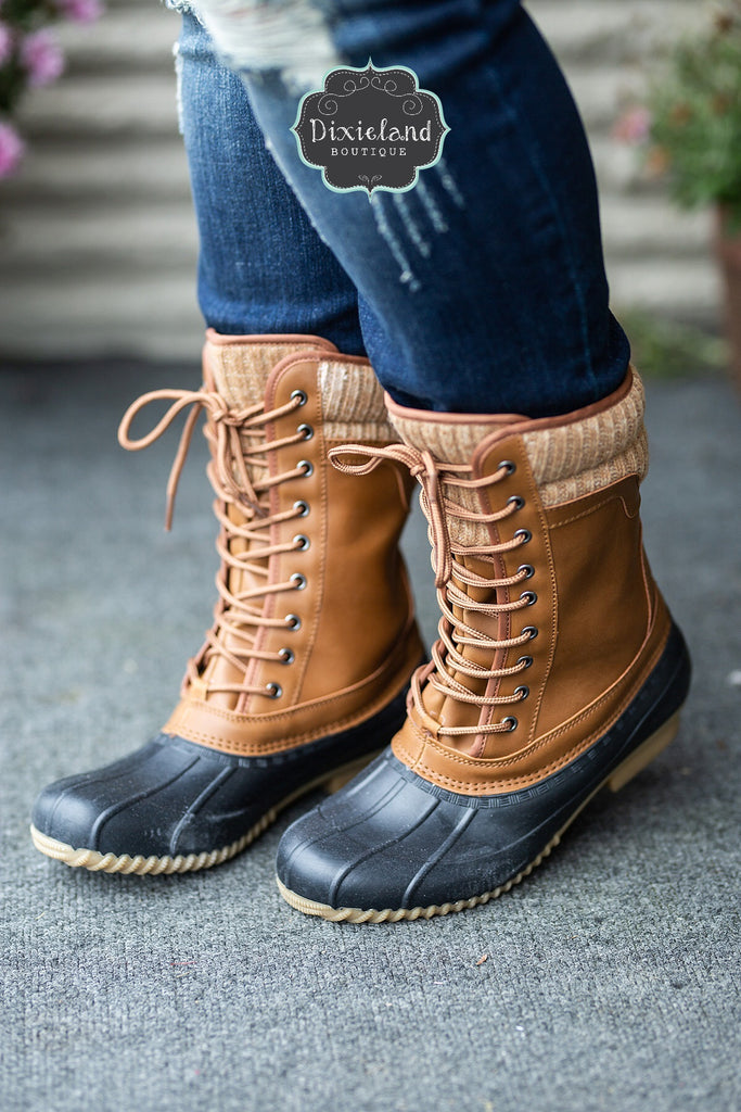 The Hunter Duck Boots - Black/Cognac