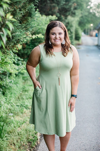 Sage Cotton BlendTank Dress