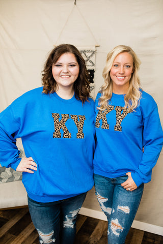 KY Sweatshirt -Royal with Leopard