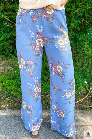 Blue Floral Wide Leg Pants
