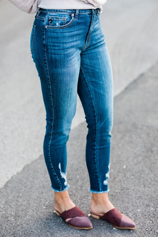 Kan Can Distressed Hem Skinny Jeans