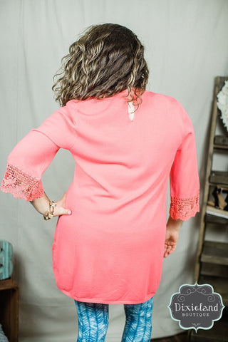 Coral Sweater Tunic with Crochet Sleeves