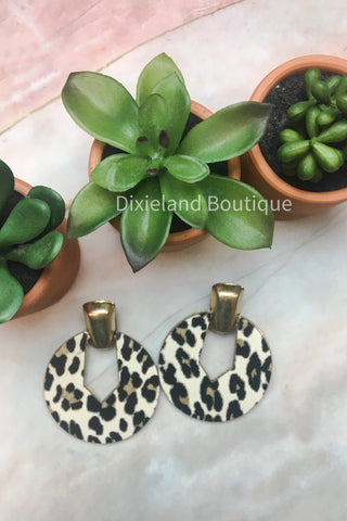 Ivory Leopard Round Earrings