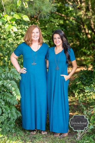 Teal Maxi T-shirt Dress
