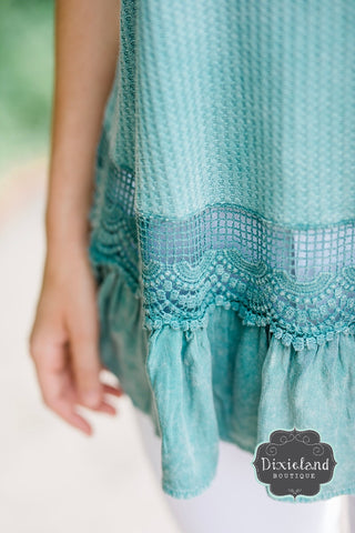 Dusty Mint Lace Tank