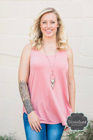 Dusty Rose Relaxed Fit Tank