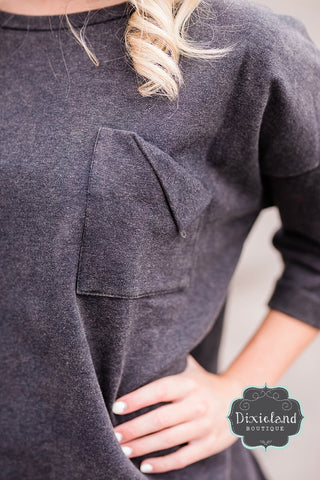 Casual Chic Charcoal Sweatshirt Top