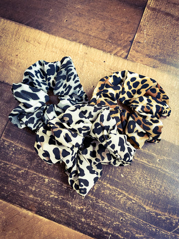 Animal Print Scrunchie Trio