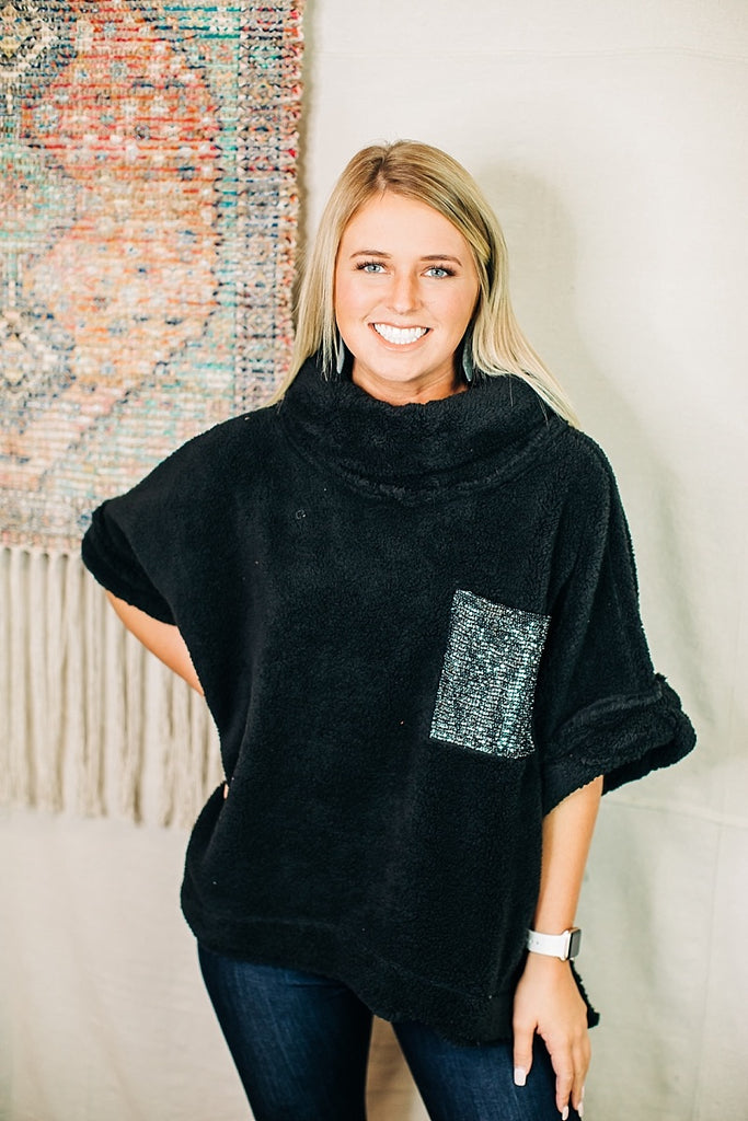 Black Sherpa Poncho Top