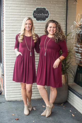 Dark Burgundy 3/4 Sleeve Pleated Dress