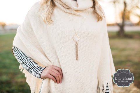 Worn Gold Tassel Necklace