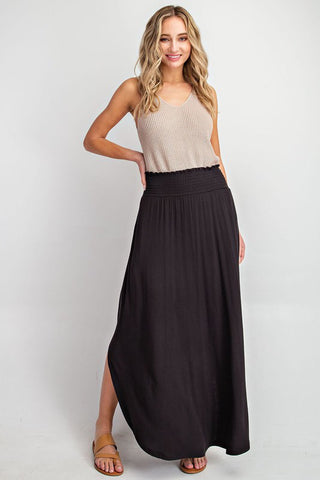 Smocked Waist Black Maxi Skirt