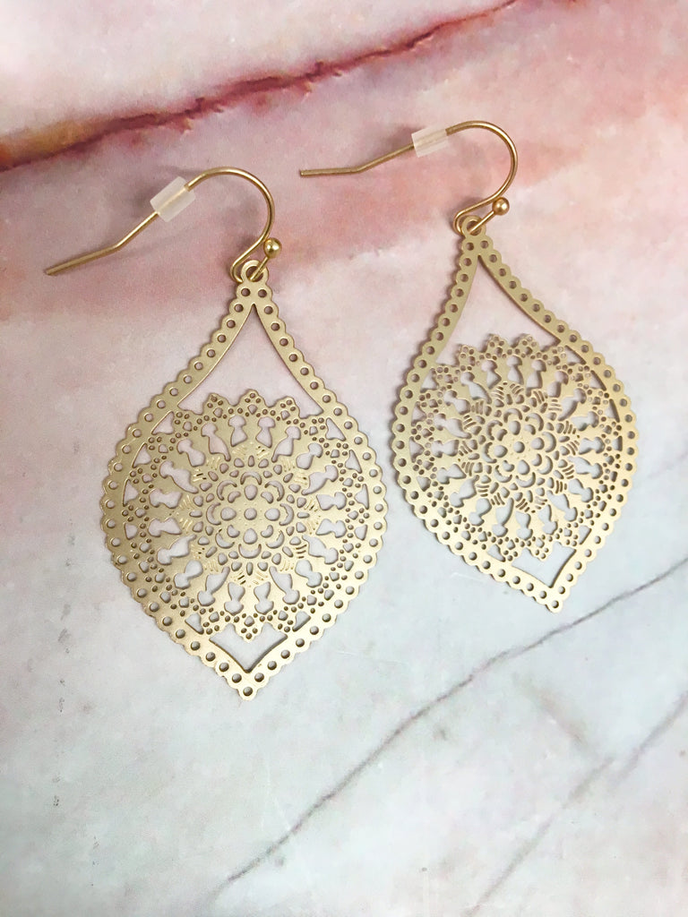 Gold Marquis Earrings