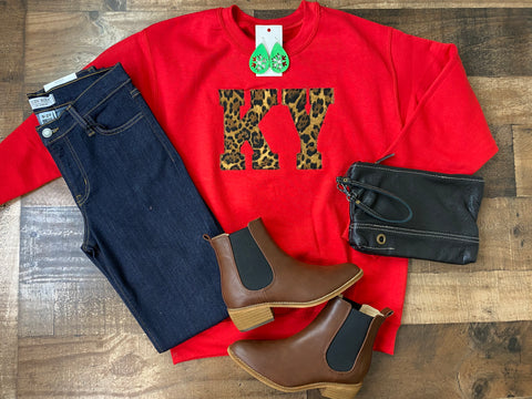KY Sweatshirt -Red with Leopard
