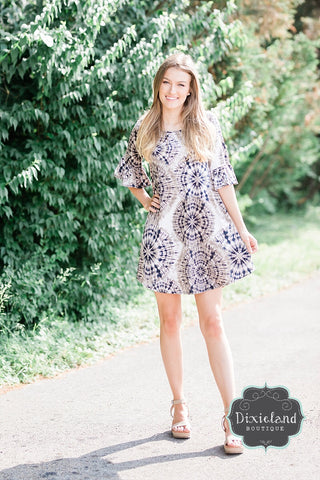 Taupe Tie Dye Tunic Dress