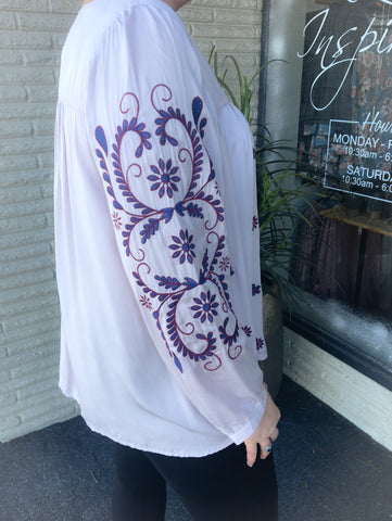 {Plus} Lavender Embroidered Peasant Blouse