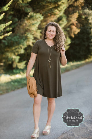 Olive V-neck T-shirt Dress