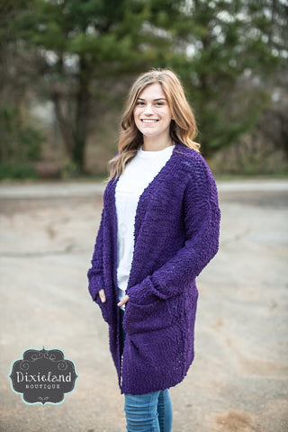 Dark Purple Popcorn Sweater Cardigan