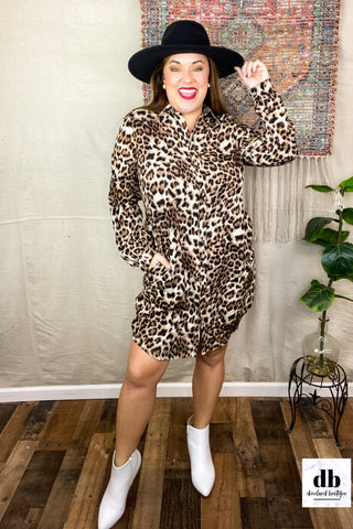 Livin' La Vida Leopard Shirt Dress