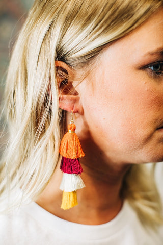 Tassel Fringe Earrings - Rust Mix
