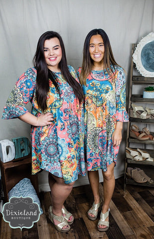 Colors of Spring Printed Tunic Dress