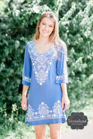Cornflower Blue Embellished Tunic Dress
