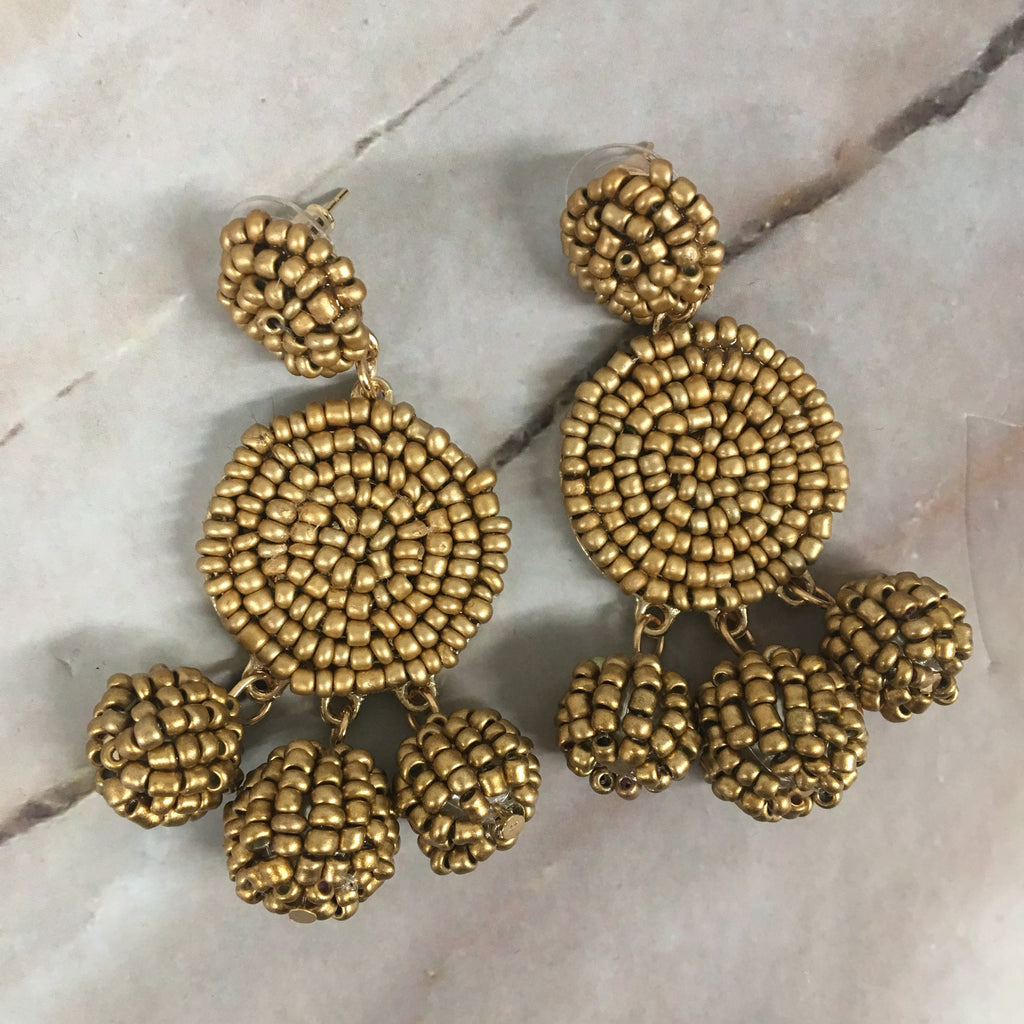 Gold Circle Beaded Earrings