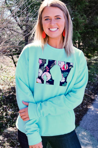 KY Sweatshirt -Turquoise with Floral
