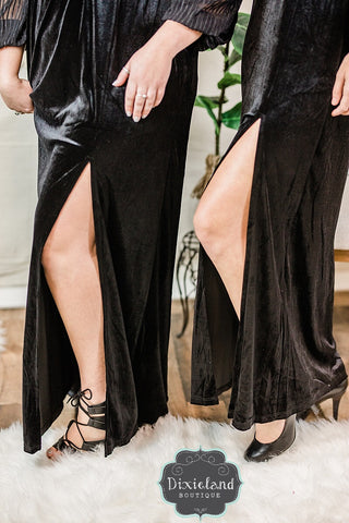 Sheer Elegance Long Velvet Gown