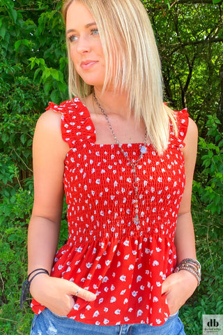 Red Floral Smocked Tank
