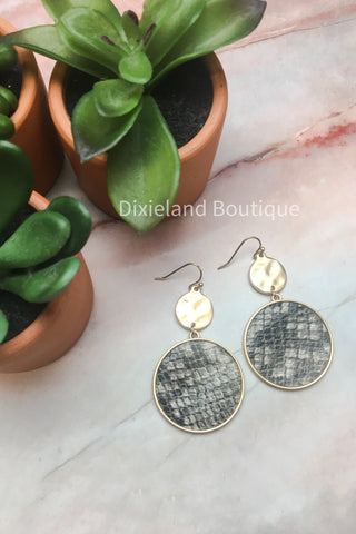 Gray Python Round Earrings