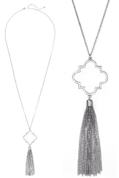 Worn Silver Tassel Necklace