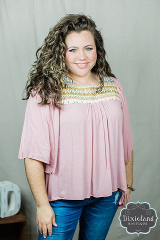 Dusty Pink Blouse with Embroidered Yoke