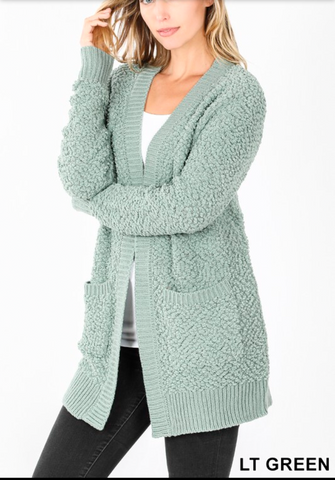 Light Green Popcorn Cardigan