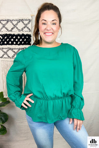 Forest Green Peplum Blouse