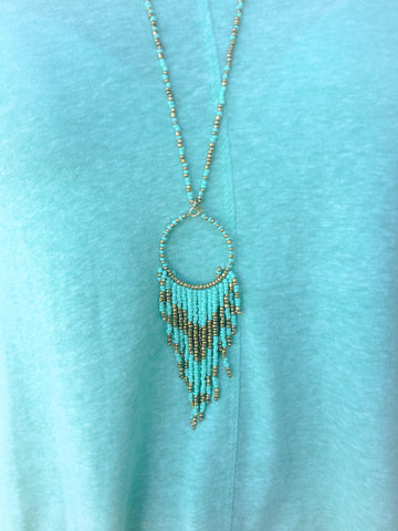 Mint & Gold Fringed Necklace