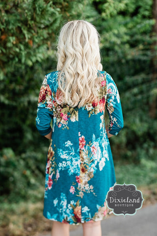 Teal Floral Tunic Dress