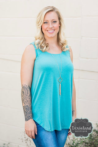 Dusty Teal Relaxed Fit Tank
